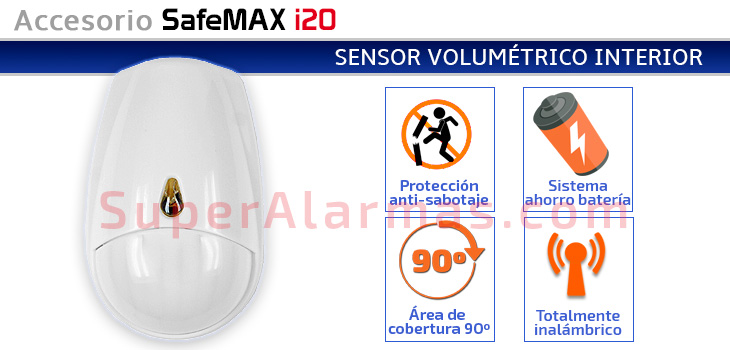 Sensor de movimiento para interior inalámbrico SafeMAX