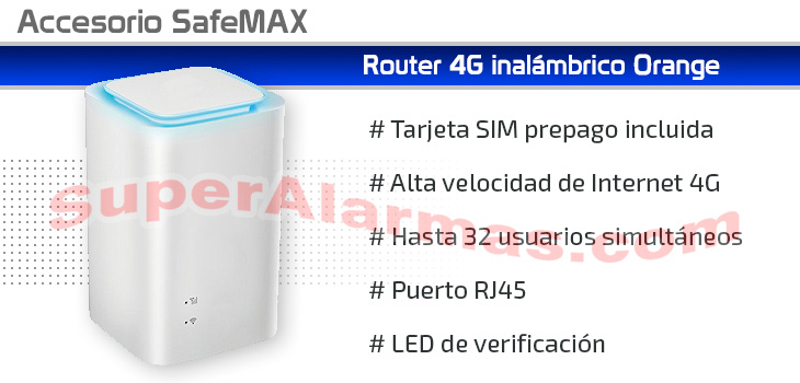 Router 4G Wifi Orange para conectar su alarma a Internet.